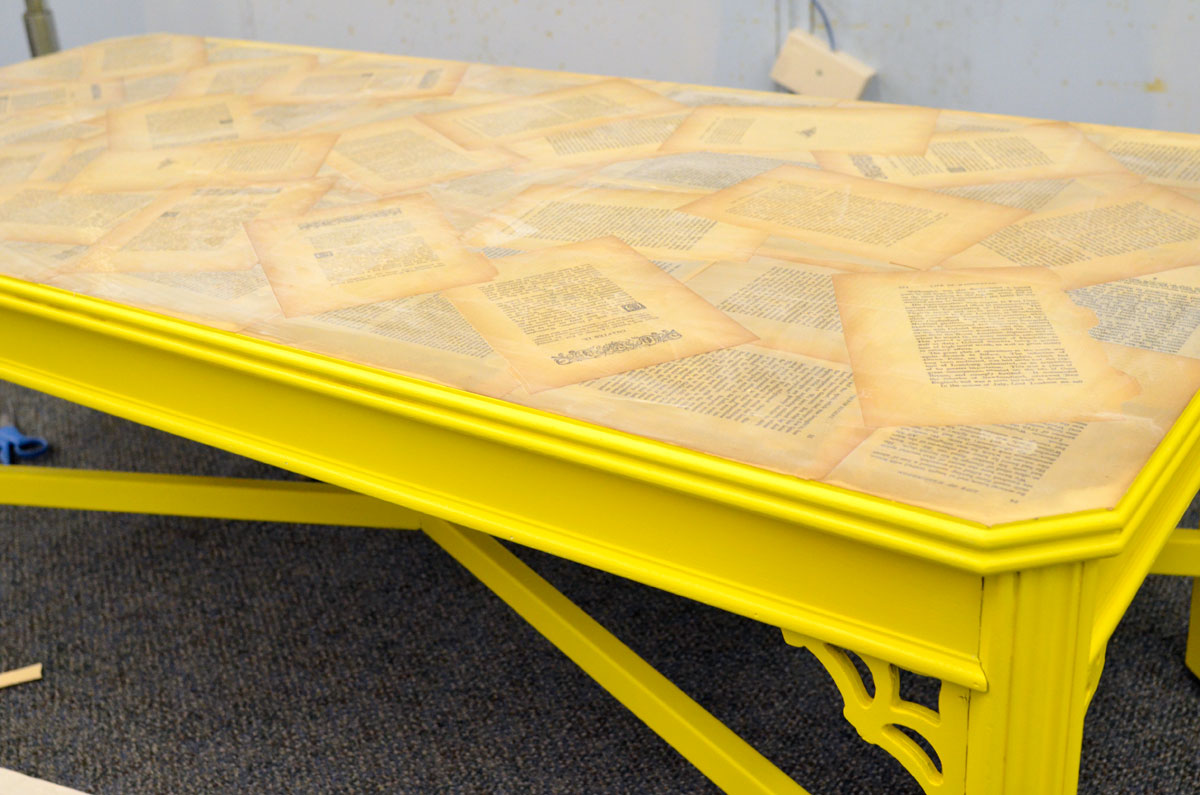 Mr kate the nate berkus show diy coffee table old book decoupaged coffee table geotapseo Choice Image