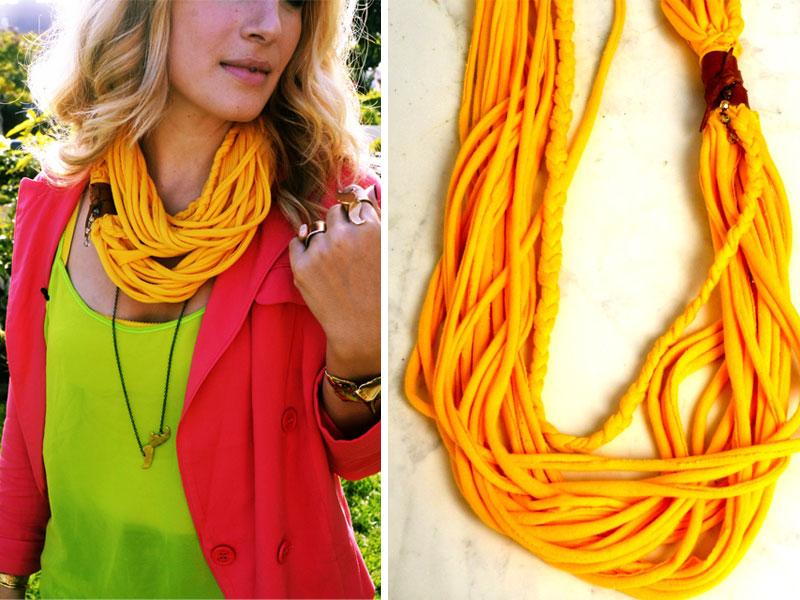 Стильный шарф из футболок.  Фото и видео МК.