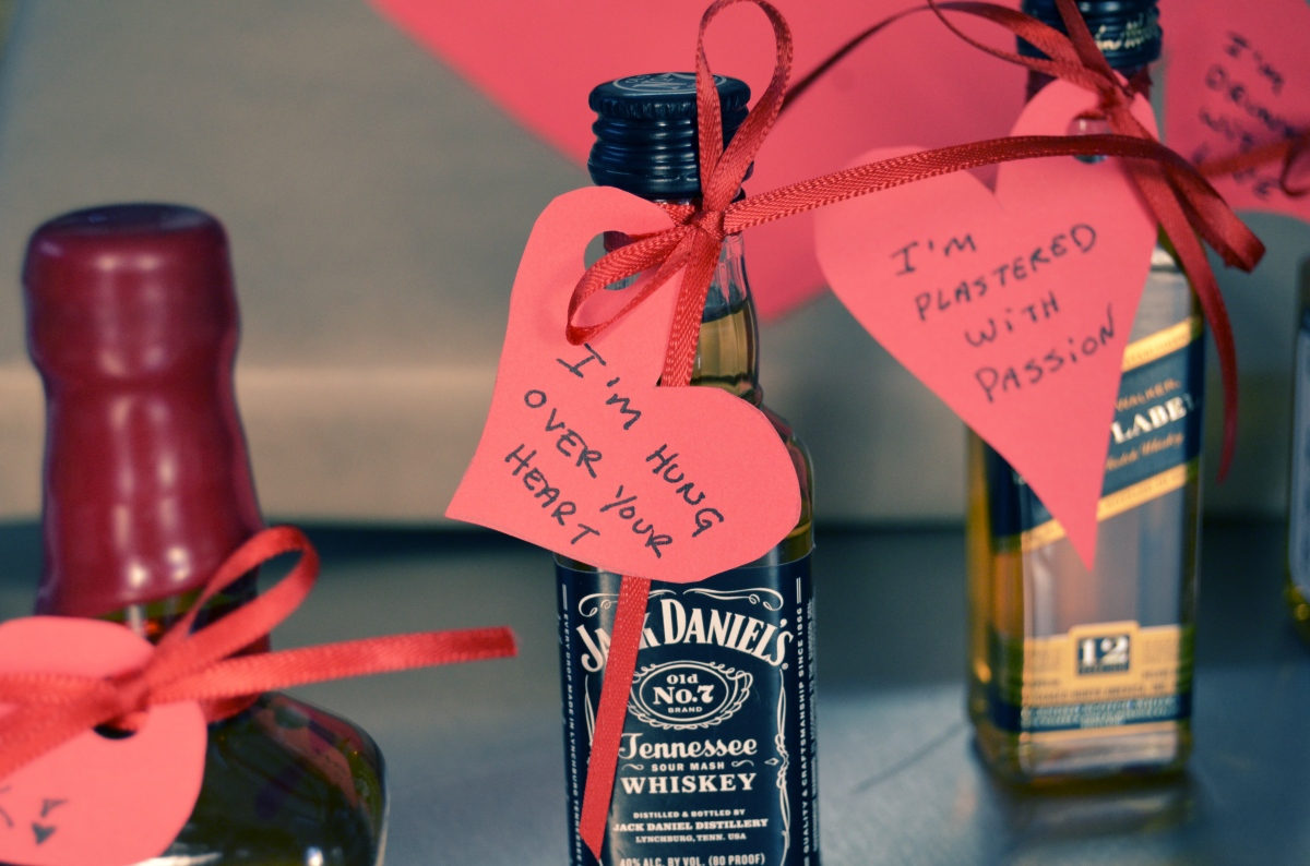 Mr. Kate - DIY liquor and hearts valentine for guys