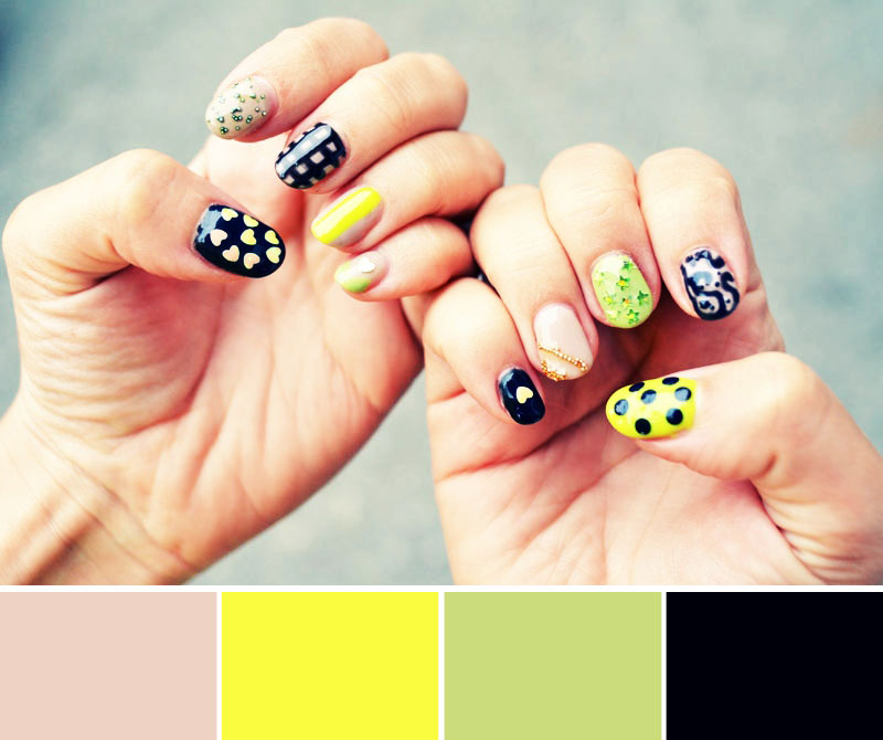 Mr. Kate - color palette nails: nude, yellow, green, black