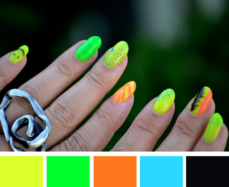 Mr. Kate - nails of the week: neon color scheme