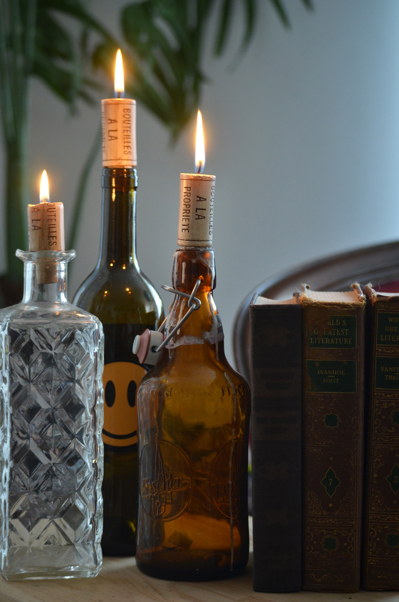 Mr kate home decor accent wine cork candles for How to make candle holders out of wine bottles