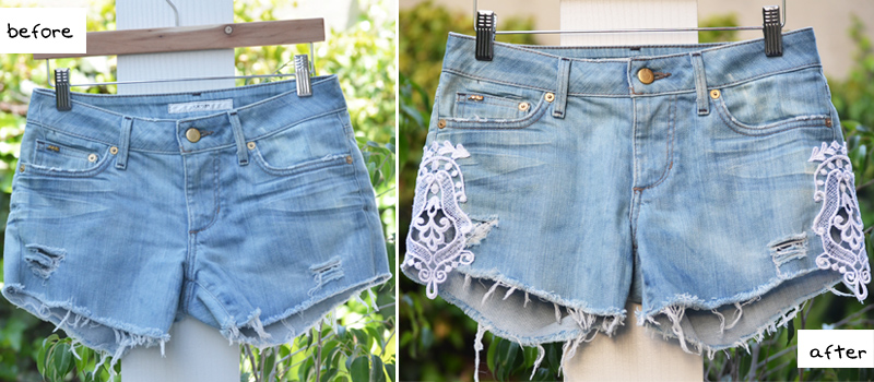 Mr. KateDIY stylelace trimmed denim shorts
