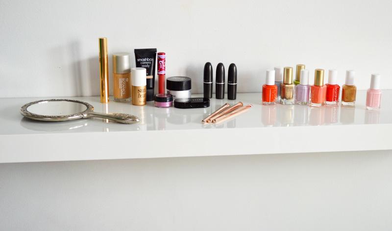 Image result for makeup on shelf