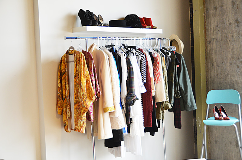 mr kate garment rack and floating shelf closet wall. Black Bedroom Furniture Sets. Home Design Ideas