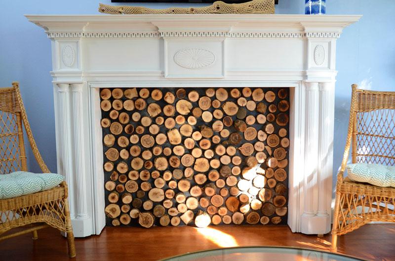 DIY Decorative Wood Slice Faux Fireplace